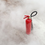 Fire Extinguisher with dense smoke.