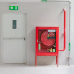 Fire exit door and fire extinguish equipment